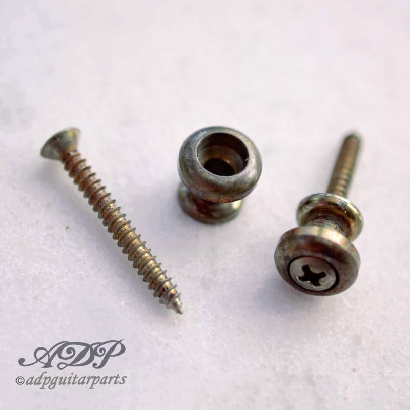 2 x Attache-courroies Strap Button Goldo fit Schaller Lock Nickel Aged Relic