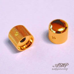 2 Gotoh Gold SmallGrip Telecaster Metal Dome Knobs for 6mm SplitShaft Pots