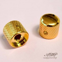 "2x Boutons Metal Tele Dome Knobs 19x19mm SolidShaft Pots 6,35mm1/4"" BigGrip Gold"