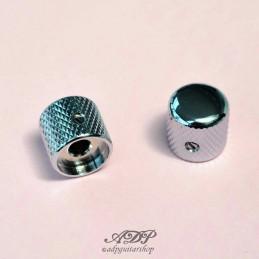 """2 Boutons dome bigGrip Metal Chrome pour pots SolidShaft 6,35mm (1/4"""")"""