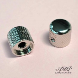 "2 Telecaster Nickel Metal Dome Knobs for 1/4"" (6,35mm) SolidShaft Pots"