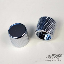 "2 Metal FlatTop chrome Knobs for (1/4"") 6,35mm SolidShaft Pots"