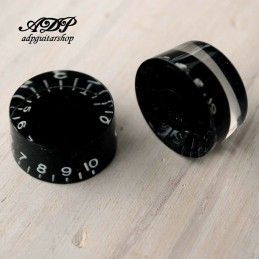 4 Boutons Noir inchSize Black Gibson Style TopHat Knobs V+T Gold Reflector Cap